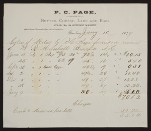 Billhead for P.C. Page, butter, cheese, lard, and eggs, Stall No. 24, Suffolk Market, Boston, Mass., dated January 10, 1879