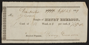 Billhead for Henry Emerson, wood, Dorchester, Mass., dated September 23, 1839