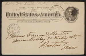 Postcard for Curran & Burton, Mason Building, 70 Kilby Street, Boston, Mass., dated January 31, 1895