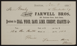 Billhead for Farwell Bros., coal, wood, sand, lime, cement, granite, 303 Dorchester Street, South Boston, Mass., dated November 9, 1883