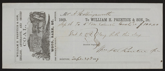 Billhead for William H. Prentice & Son, Dr., English, anthracite, and Smiths' Coal, Wood, Bark, etc., 326 Broad Street, Boston, Mass., dated September 29, 1869