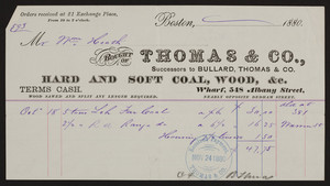 Billhead for Thomas & Co., hard and soft coal, wood, wharf, 548 Albany Street, Boston, Mass., dated October 18, 1880