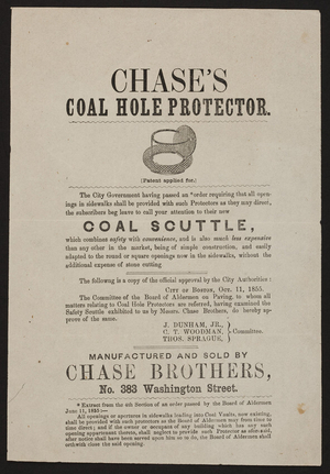 Handbill for Chase's Coal Hole Protector, Chase Brothers, No. 383 Washington Street, Boston, Mass., dated October 11, 1855