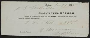 Billhead for Rufus Mosman, dealer in all kinds of hard and soft coal for grates and Smiths' use, corner of Cross and Fulton Streets, Boston, Mass., dated January 18, 1845