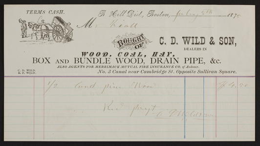 Billhead for C.D. Wild & Son, wood, coal, hay, box and bundle wood, drain pipe, No. 3 Canal, near Cambridge Street, opposite Sullivan Square, Boston, Mass., dated July 8, 1875