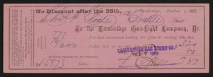 Receipt for Cambridge Gas-Light Company, Dr., Hiton Block, 424 Harvard Street, Cambridge, Mass., dated October 1, 1886