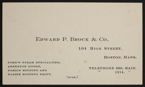 Trade card for Edward P. Brock & Co., Ford's Steam Specialties, 104 High Street, Boston, Mass., undated