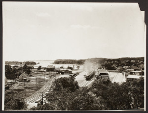 Town Railway Station and Harbor, Birdseye View from Spy Rock, Manchester by the Sea, Mass., undated