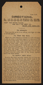 Directions for the Puritan Oil Heater, The Cleveland Foundry Co., Cleveland, Ohio