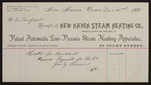 Billhead for the New Haven Steam Heating Co., Patent Automatic Solo-Pressure Steam Heating Apparatus, 68 Court Street, New Haven, Connecticut, dated December 22, 1885