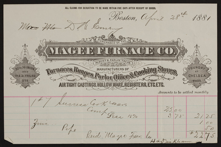 Billhead for the Magee Furnace Co., furnaces, ranges, parlor, office & cooking stoves, 32 to 38 Union and 19 & 21 Friend Streets, Boston, Mass., dated April 28, 1881