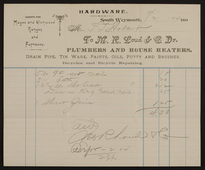 Billhead for F.M.R. Loud & Co., Dr., plumbers and house heaters, South Weymouth, Mass., dated September 2, 1904