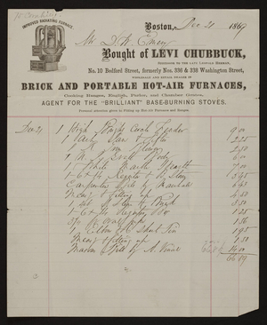 Billhead for Levi Chubbuck, brick and portable hot-air furnaces, No. 10 Bedford Street, formerly Nos. 336 & 338 Washington Street, Boston, Mass., dated December 4, 1869