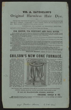Advertisement for Chilson's New Cone Furnace, Chilson, Gould & Co., 99 and 101 Blackstone Street, Boston, Mass., December, 1856