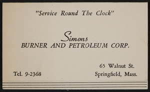 Trade card for Simons Burner and Petroleum Corp., furnaces, 65 Walnut Street, Springfield, Mass., undated