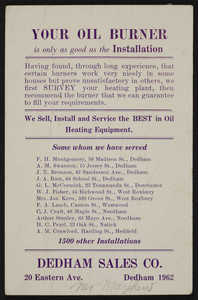 Trade card for the Dedham Sales Co., oil burners, 20 Eastern Avenue, Dedham, Mass., 1962