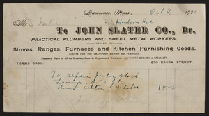 Billhead for the John Slater Co., practical plumbers and sheet metal workers, 520 Essex Street, Lawrence, Mass., dated October 2, 1920
