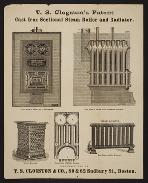 T.S. Clogston's Patent Cast Iron Sectional Steam Boiler and Radiator, T.S. Clogston & Co., 80 & 82 Sudbury Street, Boston, Mass., undated