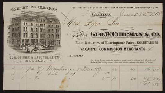 Billhead for Geo. W. Chipman & Co., manufacturers of Harrington's Patent Carpet Lining and carpet commission merchants, corner of Milk and Devonshire Streets, Boston, Mass., dated June 25, 1868