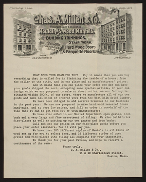 Letterhead for Chas. A. Millen & Co., mouldings, wood mantels, 11 & 12 Charlestown and 14 to 30 Beverly Streets, Boston, Mass., undated