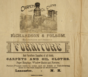 Carpets and oil cloths, Richardson & Folsom, manufacturers and dealers in furniture, carpets and oil cloths, paper hangings, window shades and fixtures, Lancaster, New Hampshire, undated