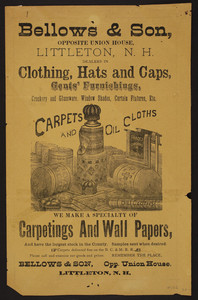 Bellows & Son, carpets and oil cloths, opposite Union House, Littleton, New Hampshire, undated
