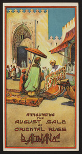 Trade card for B. Altman & Co., August sale of oriental rugs, location unknown, undated