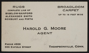 Business card for Harold G. Moore, agent for rugs and carpets, Thompsonville, Connecticut, undated