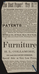 Advertisement for H.L. Collamore, furniture, 111 and 113 Court Street, Boston, Mass., undated