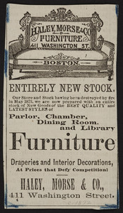 Advertisement for Haley Morse & Co., furniture, 411 Washington Street, Boston, Mass., 1873