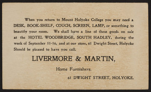 Postcard for Livermore & Martin, home furnishers, 61 Dwight Street, Holyoke, Mass., dated September 6, 1899