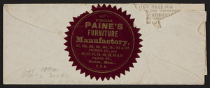 Price list and envelope for Paine's Furniture Manufactory, Nos. 48 Canal & 141 Friend Streets, Boston, Mass., undated