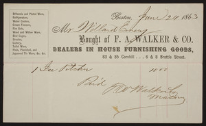 Billhead for F.A. Walker & Co., dealers in house furnishing goods, 83 & 85 Cornhill, 6 & 8 Brattle Street, Boston, Mass., dated June 24, 1863
