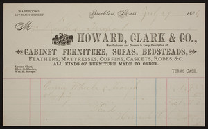 Billhead for Howard, Clark & Co., cabinet furniture, sofas, bedsteads, 407 Main Street, Brockton, Mass., dated July 29, 1884