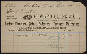Billhead for Howard, Clark & Co., cabinet furniture, sofas, bedsteads, feathers, mattresses, 85 Main Street, Brockton, Mass., dated April 11, 1887