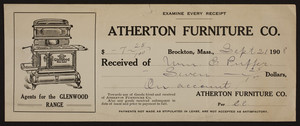 Receipt for the Atherton Furniture Co., furniture leasing, Brockton, Mass., dated September 21, 1908