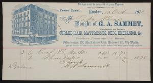 Billhead for G.A. Sammet, curled hair, mattresses, beds, Excelsior, 130 Blackstone, corner Hanover Street, Boston, Mass., dated October, 14, 1872