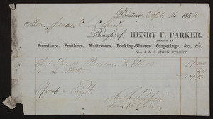 Billhead for Henry F. Parker, dealer in furniture, feathers, mattresses, looking-glasses, carpetings, Nos. 4 & 6 Union Street, Boston, Mass., dated September, 14, 1853
