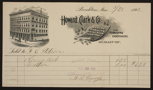 Billhead for Howard, Clark & Co., parlor, chamber & dining room furniture, 85 Main Street, Brockton, Mass., dated May 28, 1892