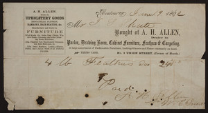 Billhead for A.H. Allen, parlor, drawing room, cabinet furniture, feathers & carpeting, No. 5 Union Street, corner of North, Boston, Mass., dated June 19, 1862