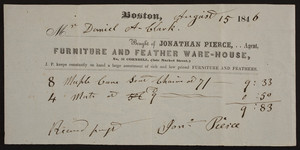 Billhead for Jonathan Pierce, agent, furniture and feather ware-house, No. 51 Cornhill Street, late Market Street, Boston, Mass., dated August 15, 1846