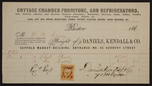 Billhead for Daniels, Kendall & Co., cottage chamber furniture, and refrigerators, Suffolk Market Building, entrance No. 25 Sudbury Street, Boston, Mass., dated December 6, 1866