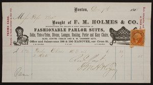 Billhead for F.M. Holmes & Co., fashionable parlor suits, 188 & 190 Hanover Street, corner Cross Street, Boston, Mass., dated December 9, 1868