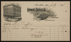 Billhead for Howard, Clark & Co., parlor, chamber & dining room furniture, 85 Main Street, Brockton, Mass., dated July 1, 1899