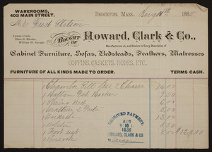 Billhead for Howard, Clark & Co., cabinet furniture, sofas, bedsteads, feathers, mattresses, 403 Main Street, Brockton, Mass., dated August 10, 1885
