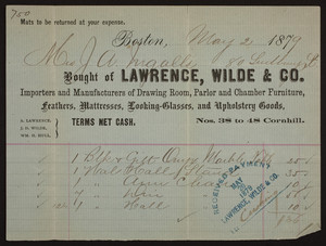 Billhead for Lawrence, Wilde & Co., drawing room, parlor and chamber furniture, Nos. 38 to 48 Cornhill, Boston, Mass., dated May 2, 1879