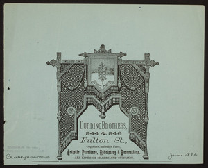 Advertisement for Durring Brothers, artistic furniture, upholstery, & decorations, 944 & 946 Fulton Street, opposite Cambridge Place, Brooklyn, New York, June 1882