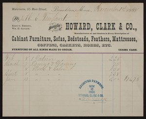 Billhead for Howard, Clark & Co., cabinet furniture, sofas, bedsteads, feathers, mattresses, 85 Main Street, Brockton, Mass., dated November 1, 1888