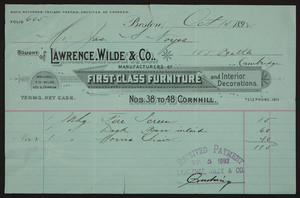 Billhead for Lawrence, Wilde & Co., manufacturers of first-class furniture and interior decorations, Nos. 38 to 48 Cornhill, Boston, Mass., dated October 15, 1892