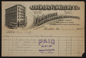 Billhead for Atherton Furniture Co., furniture, carpets, bedding, draperies, 41 Center Street, Brockton, Mass., dated March 23, 1908